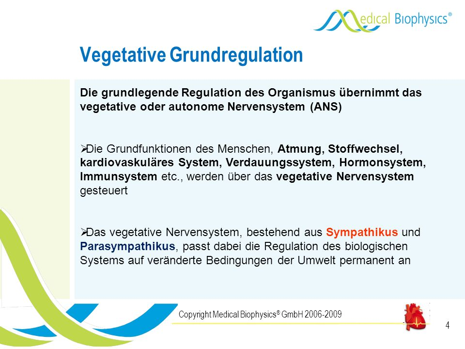 4 Vegetative Grundregulation Copyright Medical Biophysics ® GmbH 2006-2009 Die grundlegende Regulation des Organismus übernimmt das vegetative oder au