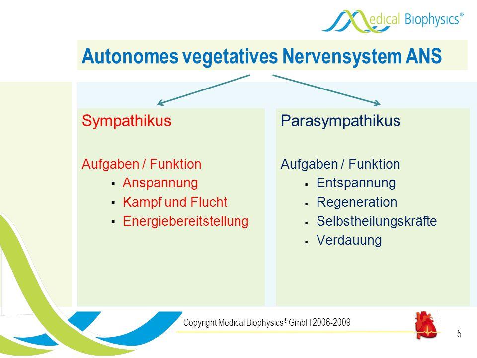 5 Sympathikus Aufgaben / Funktion Anspannung Kampf und Flucht Energiebereitstellung Copyright Medical Biophysics ® GmbH 2006-2009 Autonomes vegetative