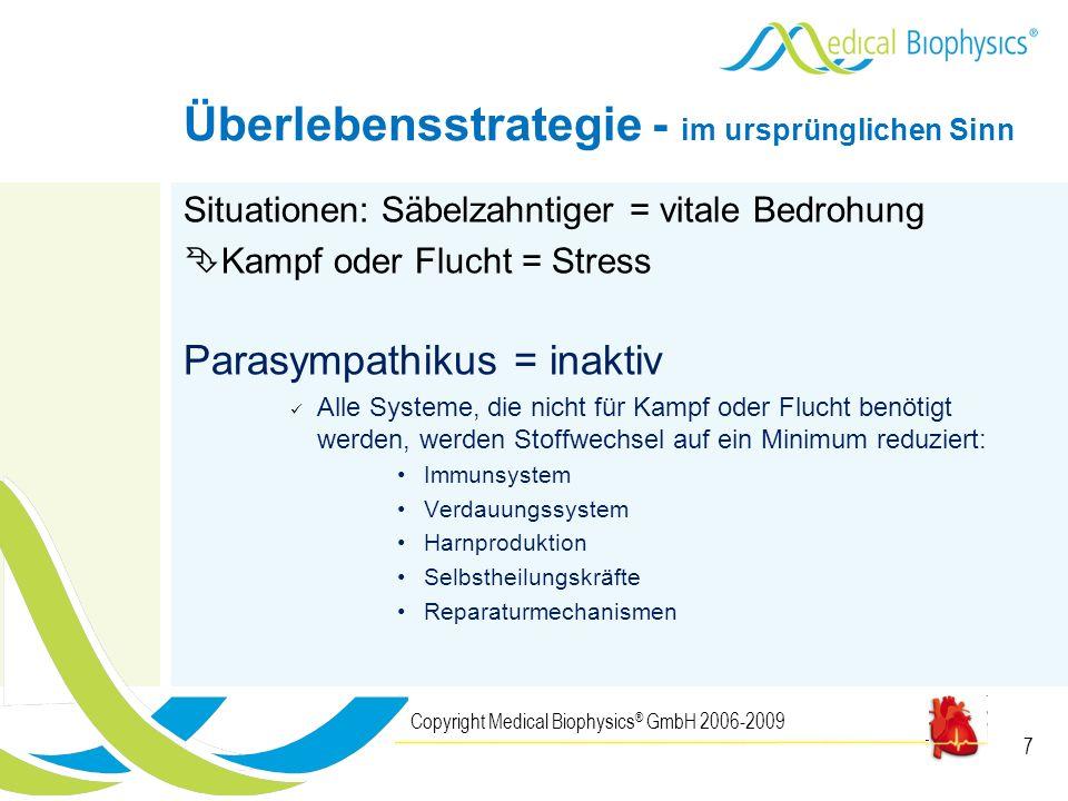 7 Situationen: Säbelzahntiger = vitale Bedrohung Kampf oder Flucht = Stress Parasympathikus = inaktiv Alle Systeme, die nicht für Kampf oder Flucht be