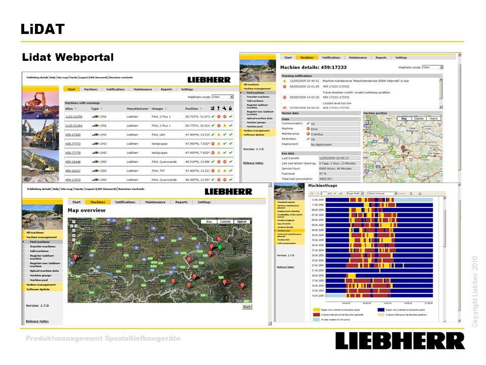 Copyright Liebherr 2010 Produktmanagement Spezialtiefbaugeräte LiDAT Lidat Webportal