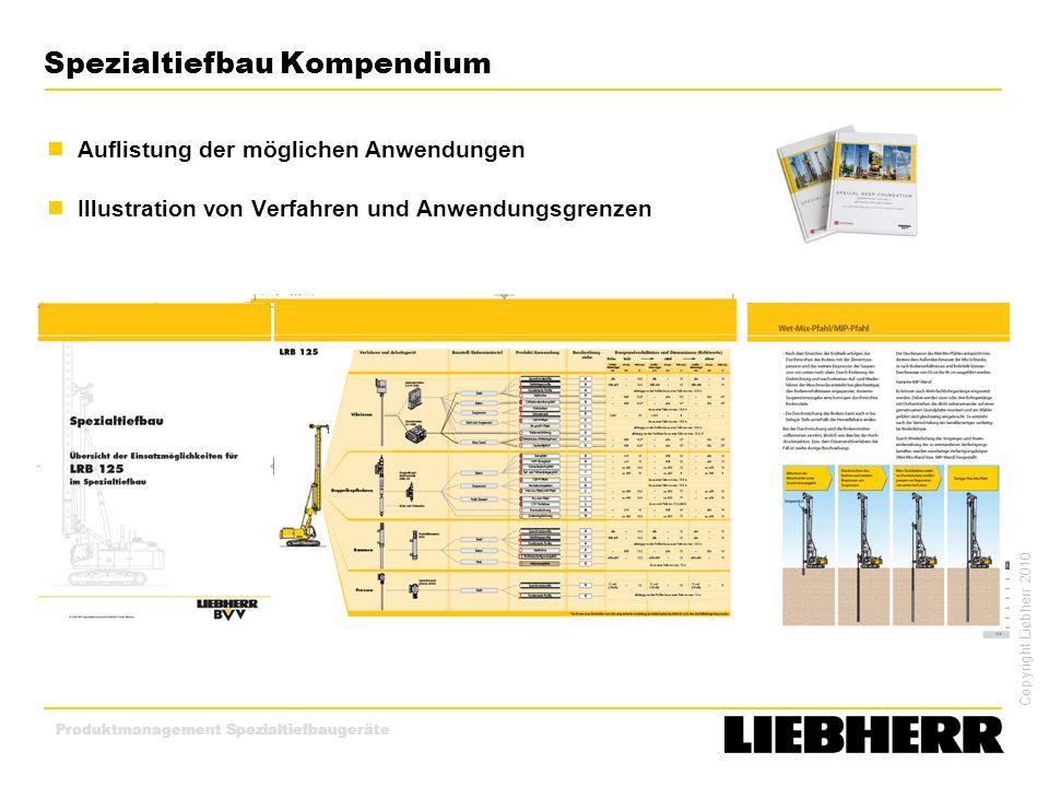 Copyright Liebherr 2010 Produktmanagement Spezialtiefbaugeräte Spezialtiefbau Kompendium Auflistung der möglichen Anwendungen Illustration von Verfahr