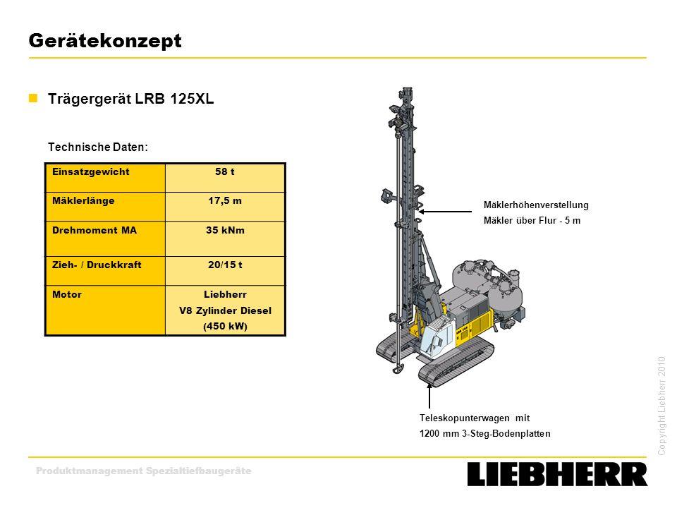 Copyright Liebherr 2010 Produktmanagement Spezialtiefbaugeräte Gerätekonzept Trägergerät LRB 125XL Technische Daten: Teleskopunterwagen mit 1200 mm 3-