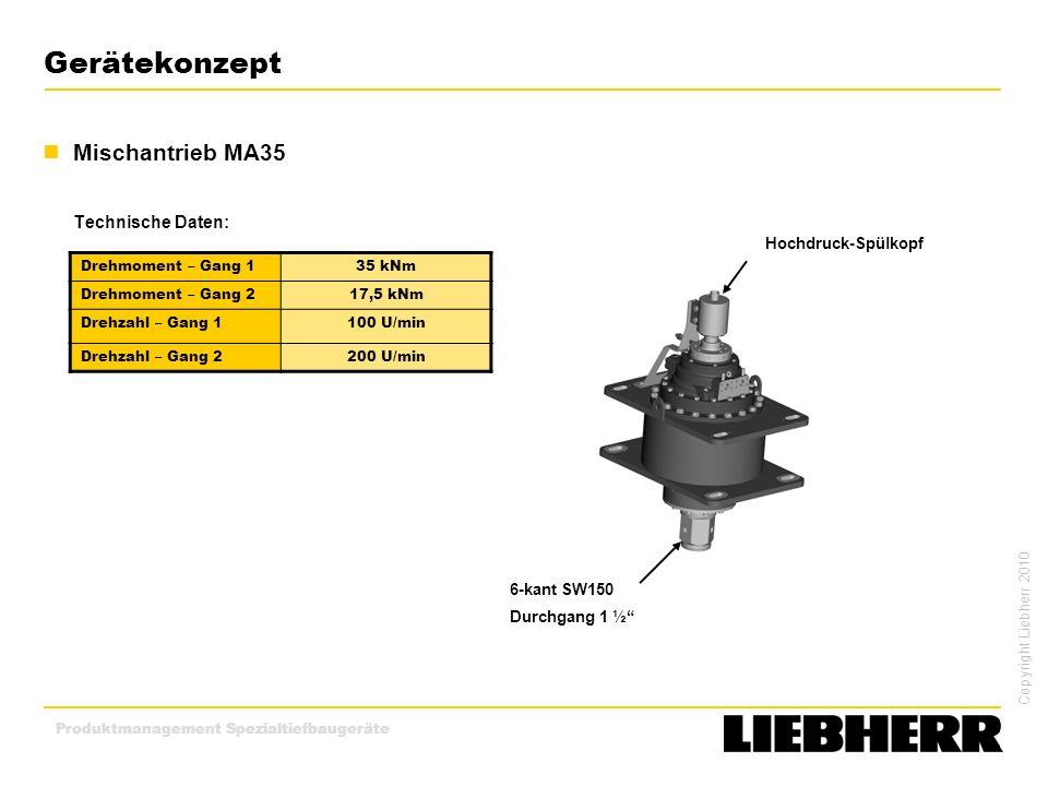 Copyright Liebherr 2010 Produktmanagement Spezialtiefbaugeräte Gerätekonzept Mischantrieb MA35 Technische Daten: 6-kant SW150 Durchgang 1 ½ Hochdruck-