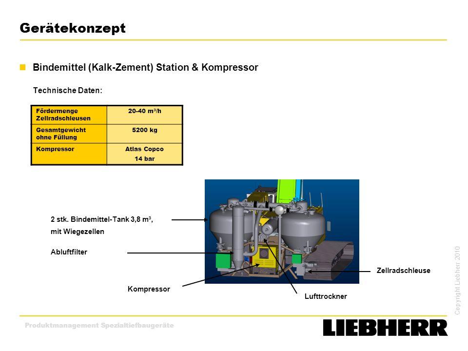 Copyright Liebherr 2010 Produktmanagement Spezialtiefbaugeräte Gerätekonzept Bindemittel (Kalk-Zement) Station & Kompressor Technische Daten: 2 stk. B