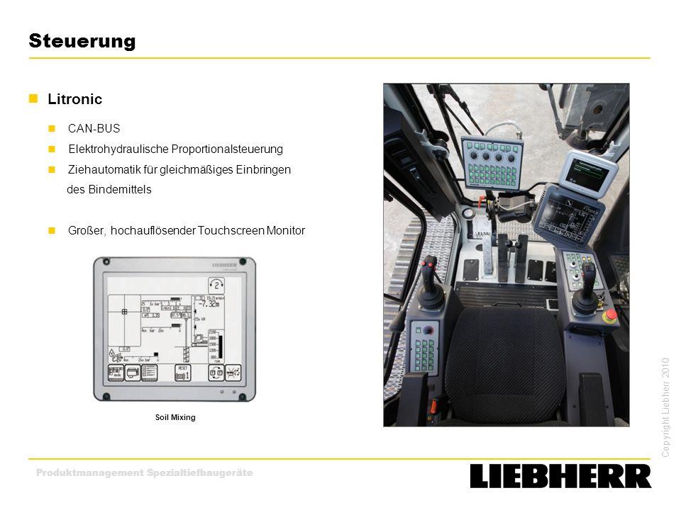 Copyright Liebherr 2010 Produktmanagement Spezialtiefbaugeräte Steuerung Litronic CAN-BUS Elektrohydraulische Proportionalsteuerung Ziehautomatik für