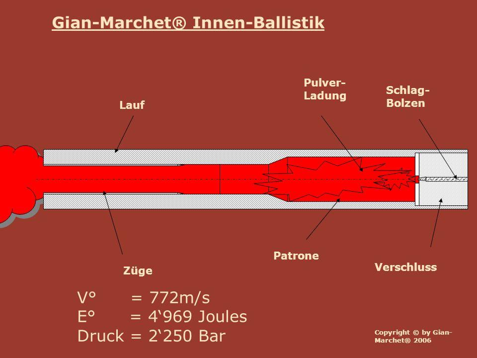 Copyright © by Gian- Marchet® 2006 Lauf Verschluss Züge Schlag- Bolzen Patrone Pulver- Ladung V° = 772m/s E° = 4969 Joules Druck = 2250 Bar Gian-March
