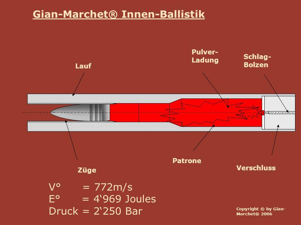 Lauf Verschluss Züge Schlag- Bolzen Patrone Pulver- Ladung V° = 772m/s E° = 4969 Joules Druck = 2250 Bar Copyright © by Gian- Marchet® 2006 Gian-March