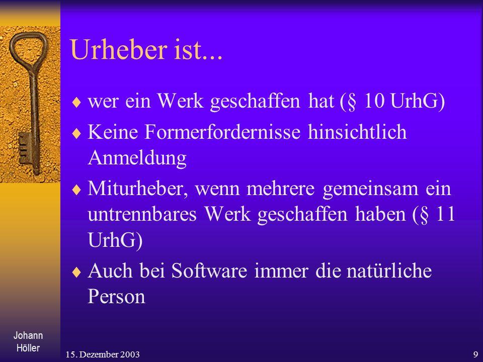 Johann Höller 15.Dezember 20039 Urheber ist...