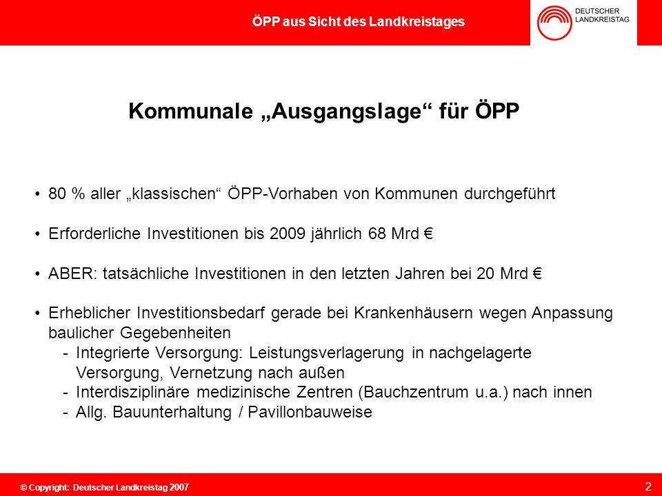 Kommunale Ausgangslage für ÖPP 80 % aller klassischen ÖPP-Vorhaben von Kommunen durchgeführt Erforderliche Investitionen bis 2009 jährlich 68 Mrd ABER