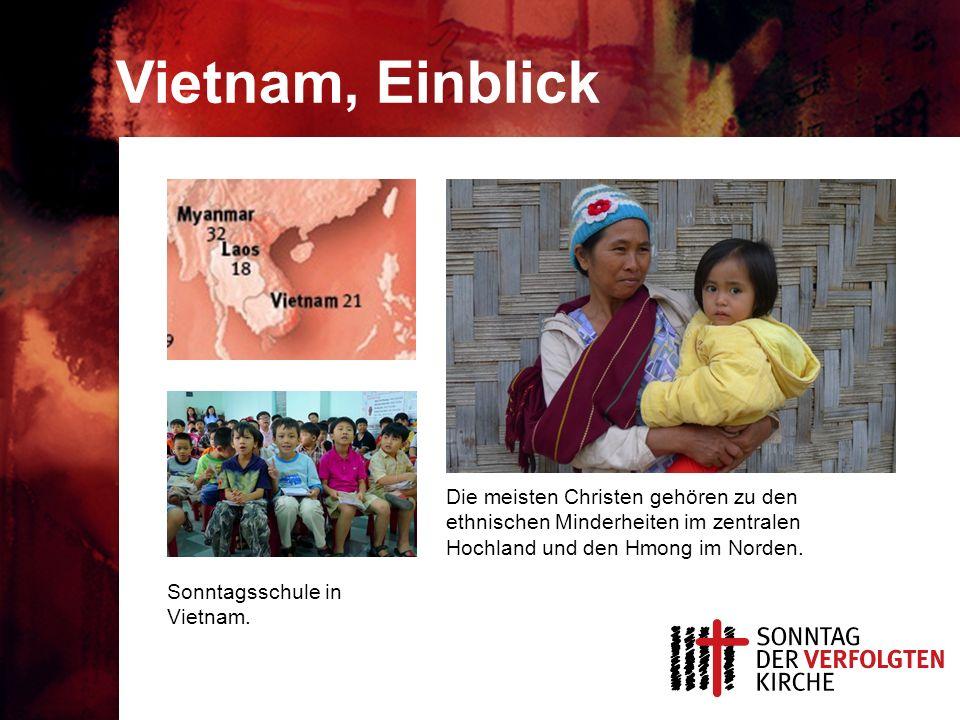 Vietnam, Einblick Sonntagsschule in Vietnam. Die meisten Christen gehören zu den ethnischen Minderheiten im zentralen Hochland und den Hmong im Norden