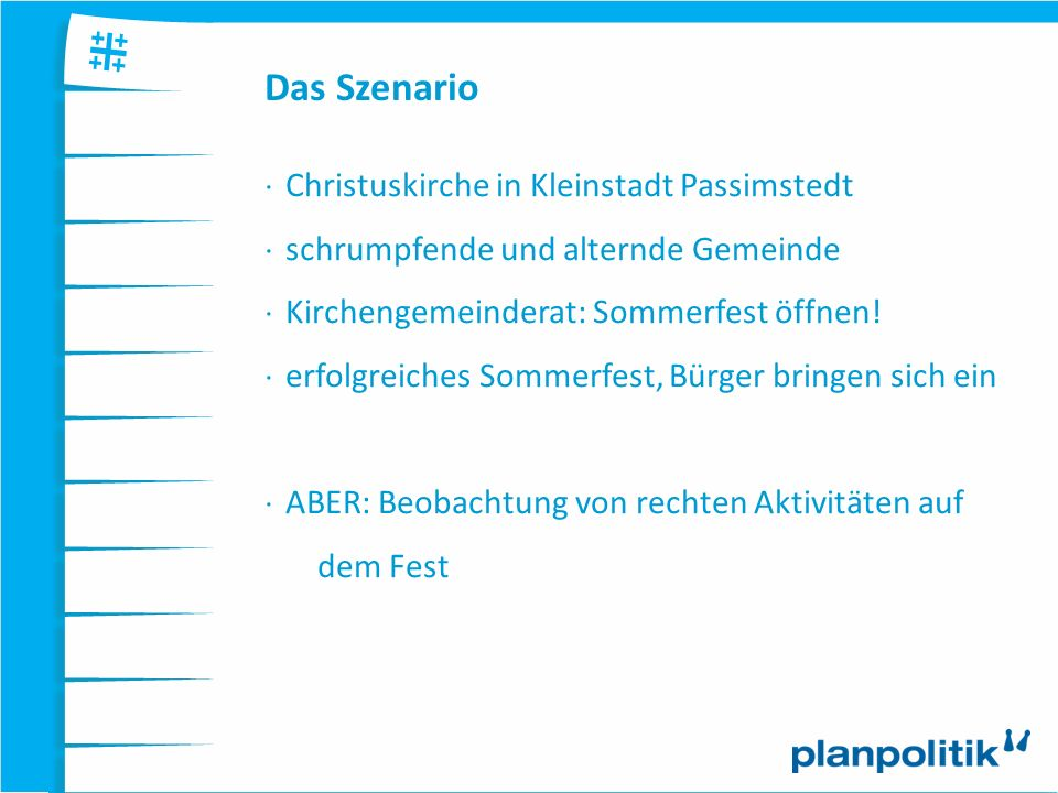 Das Szenario Christuskirche in Kleinstadt Passimstedt schrumpfende und alternde Gemeinde Kirchengemeinderat: Sommerfest öffnen! erfolgreiches Sommerfe