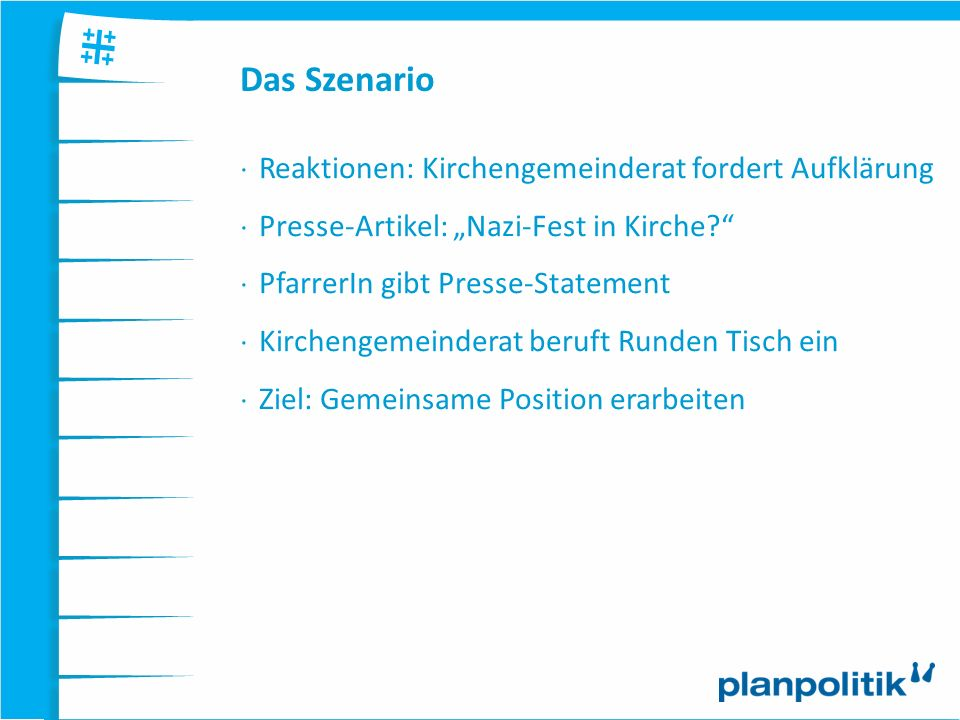 Das Szenario Reaktionen: Kirchengemeinderat fordert Aufklärung Presse-Artikel: Nazi-Fest in Kirche? PfarrerIn gibt Presse-Statement Kirchengemeinderat