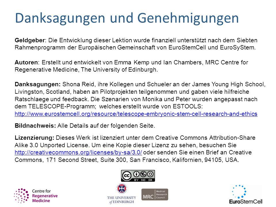 Geldgeber: Die Entwicklung dieser Lektion wurde finanziell unterstützt nach dem Siebten Rahmenprogramm der Europäischen Gemeinschaft von EuroStemCell