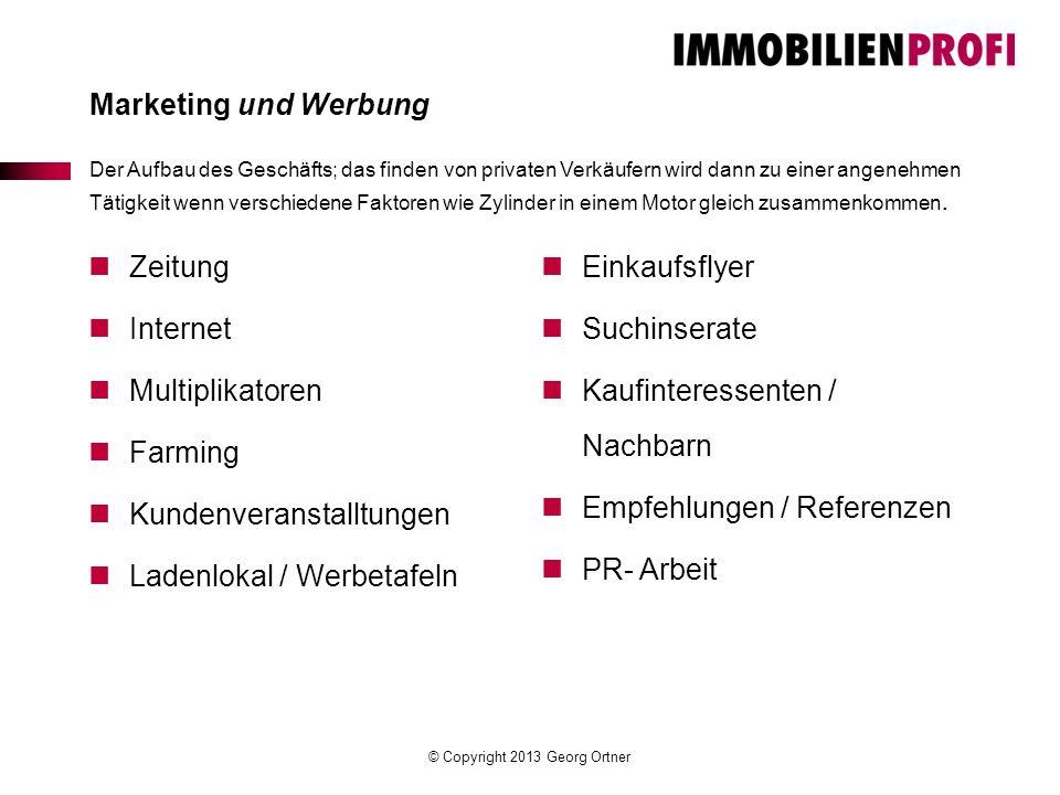 © Copyright 2013 Georg Ortner Marketing und Werbung Der Aufbau des Geschäfts; das finden von privaten Verkäufern wird dann zu einer angenehmen Tätigke