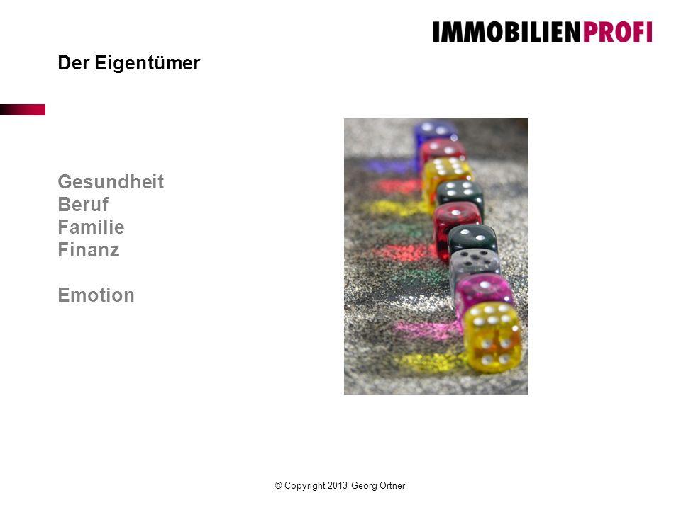 © Copyright 2013 Georg Ortner Der Eigentümer Gesundheit Beruf Familie Finanz Emotion