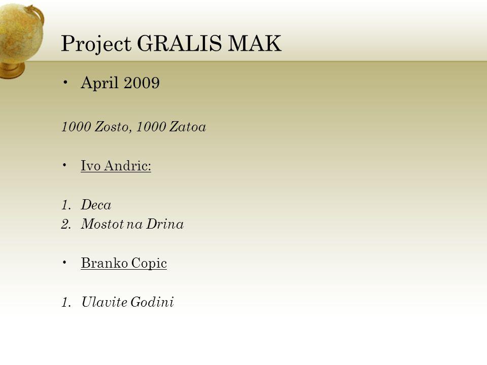Project GRALIS MAK Monolingval : Dragi Mihajlovski 1.16 Translations of William Shakespeare 2.Paradise Lost John Milton 3.5 Books (Smrtta na Dijakot, Mojot Skenderbej, Bajazit i Olivera_2009)