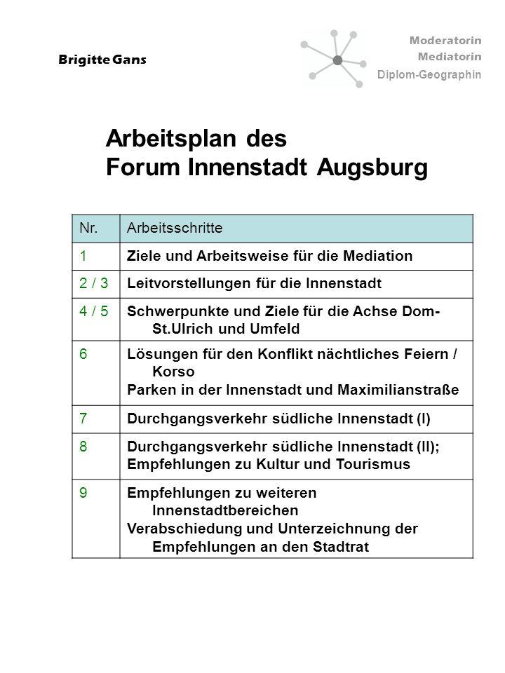 Moderatorin Mediatorin Diplom-Geographin Brigitte Gans Nr.Arbeitsschritte 1Ziele und Arbeitsweise für die Mediation 2 / 3Leitvorstellungen für die Inn