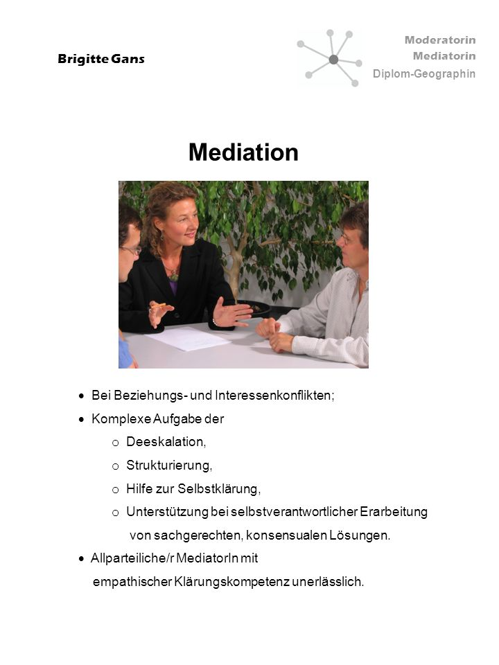 Moderatorin Mediatorin Diplom-Geographin Brigitte Gans Mediation Bei Beziehungs- und Interessenkonflikten; Komplexe Aufgabe der o Deeskalation, o Stru