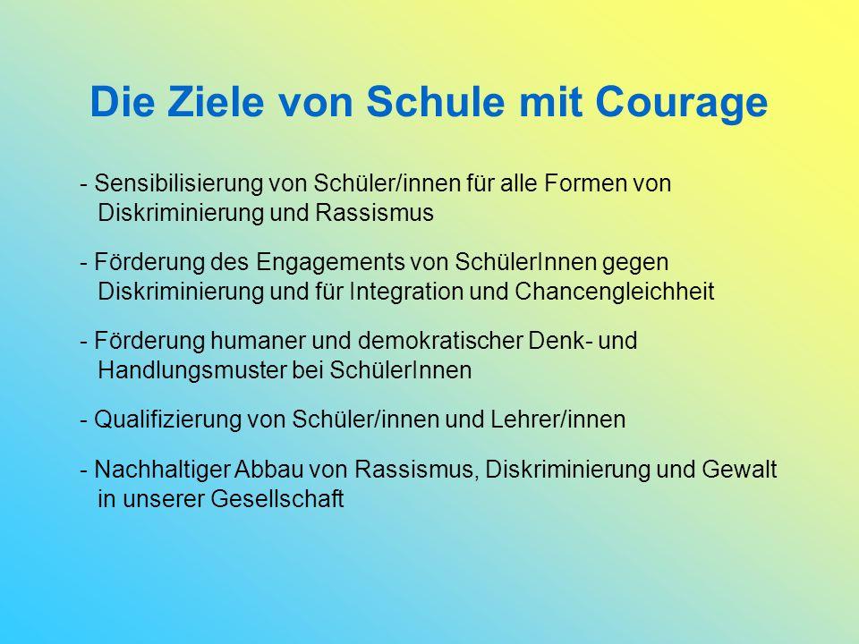 Die Ziele von Schule mit Courage - Sensibilisierung von Schüler/innen für alle Formen von Diskriminierung und Rassismus - Förderung des Engagements von SchülerInnen gegen Diskriminierung und für Integration und Chancengleichheit - Förderung humaner und demokratischer Denk- und Handlungsmuster bei SchülerInnen - Qualifizierung von Schüler/innen und Lehrer/innen - Nachhaltiger Abbau von Rassismus, Diskriminierung und Gewalt in unserer Gesellschaft