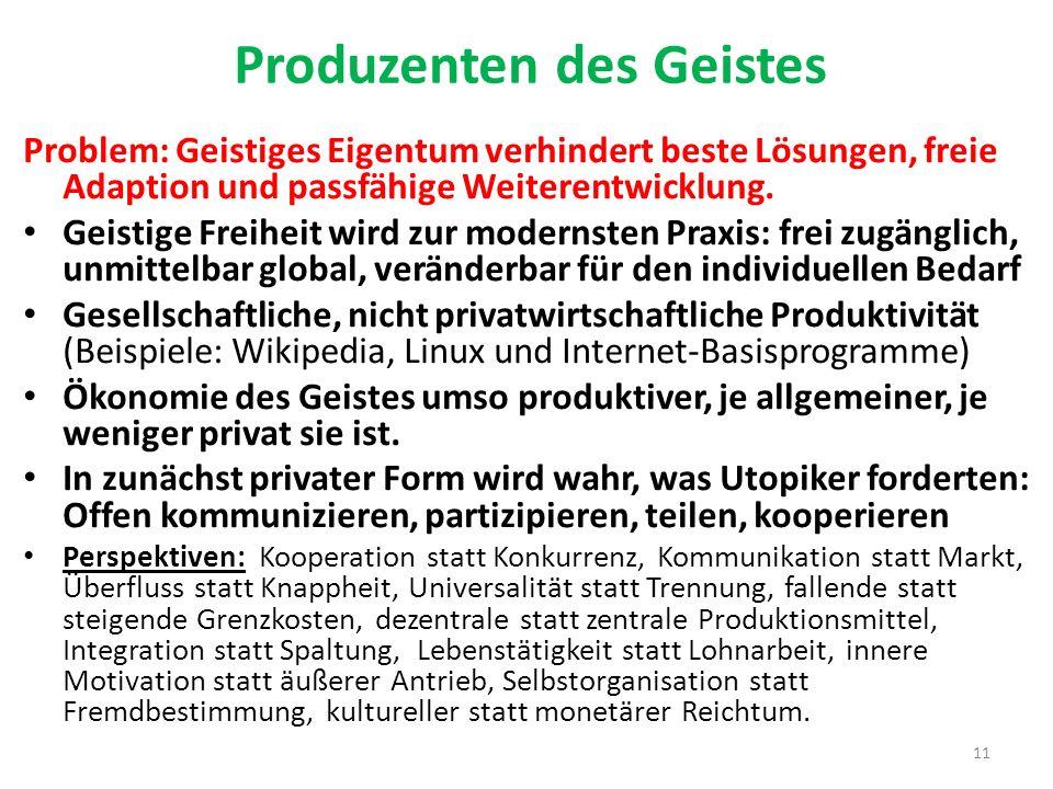 Produzenten des Geistes Problem: Geistiges Eigentum verhindert beste Lösungen, freie Adaption und passfähige Weiterentwicklung. Geistige Freiheit wird