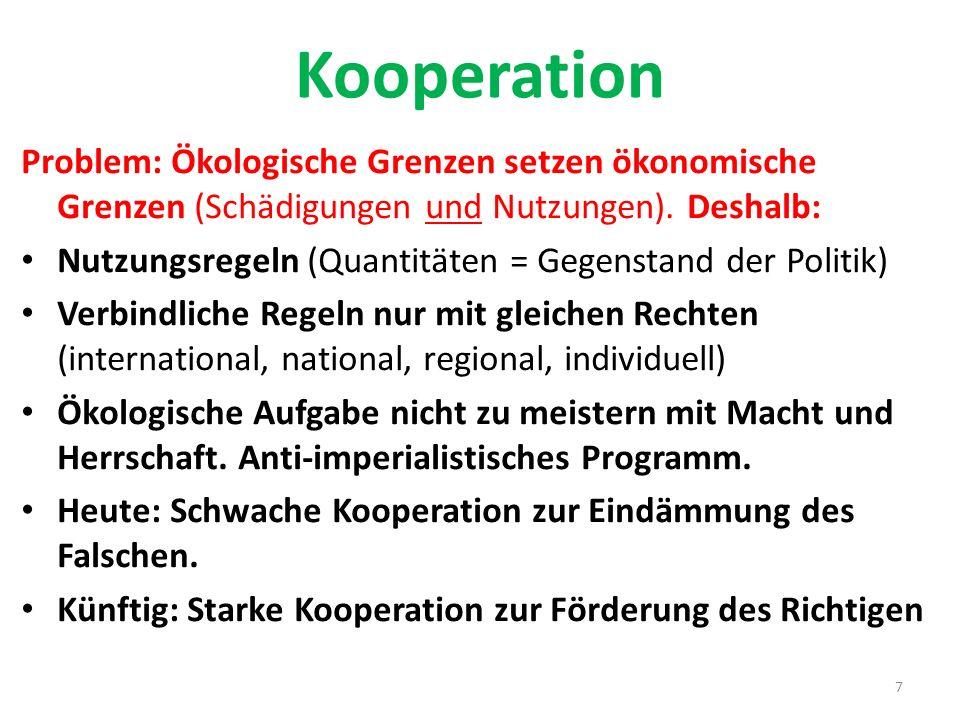 Kooperation Problem: Ökologische Grenzen setzen ökonomische Grenzen (Schädigungen und Nutzungen). Deshalb: Nutzungsregeln (Quantitäten = Gegenstand de