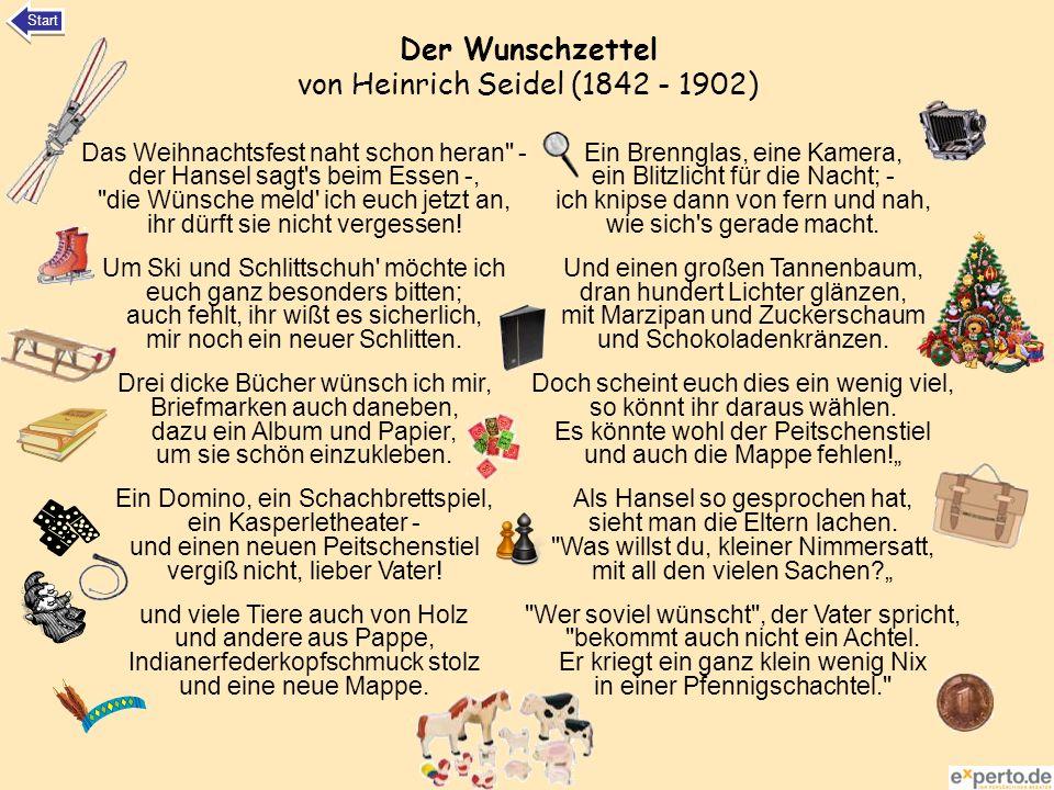 Der Wunschzettel von Heinrich Seidel (1842 - 1902) Das Weihnachtsfest naht schon heran