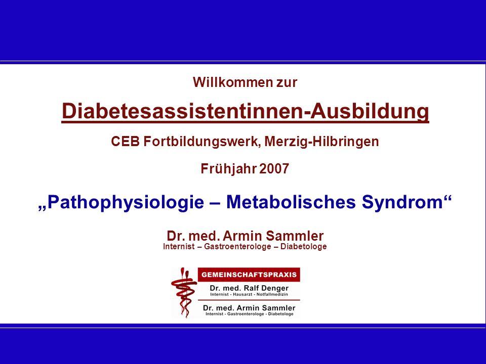 Willkommen zur Diabetesassistentinnen-Ausbildung CEB Fortbildungswerk, Merzig-Hilbringen Frühjahr 2007 Pathophysiologie – Metabolisches Syndrom Dr. me
