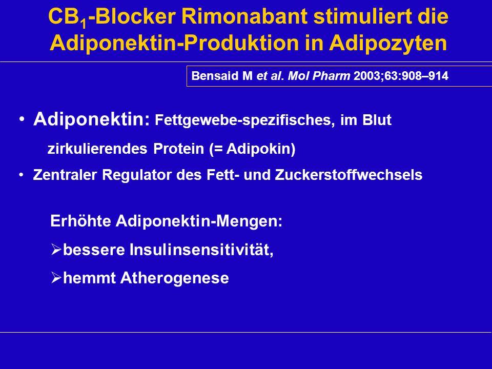 CB 1 -Blocker Rimonabant stimuliert die Adiponektin-Produktion in Adipozyten Bensaid M et al. Mol Pharm 2003;63:908–914 Adiponektin: Fettgewebe-spezif