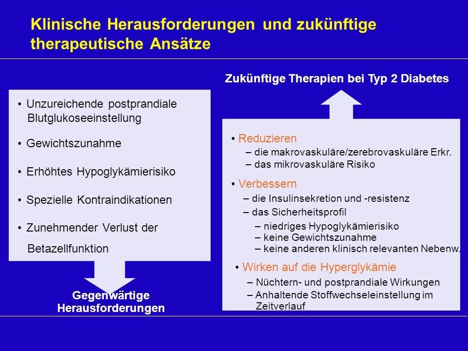 Zukünftige Therapien bei Typ 2 Diabetes Klinische Herausforderungen und zukünftige therapeutische Ansätze Reduzieren – die makrovaskuläre/zerebrovasku