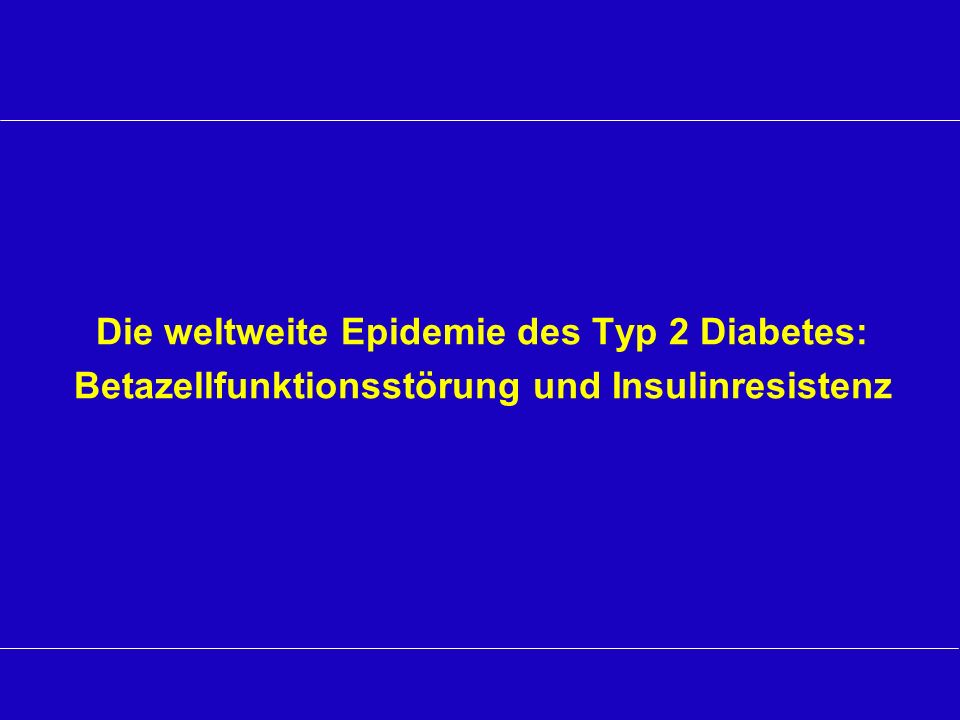 Jahre ab Diagnose Belfast Diet Study Reduzierte ß-Zell-Funktion bei stabiler Insulin Sensitivität in Typ-2-Diabetes Data from the first six years of 10-year follow-up of the Belfast Diet Study: Data from 67 newly diagnosed subjects with type 2 diabetes mellitus (N=432) who required oral antihyperglycemic therapy or insulin due to secondary failure of diet therapy during years 5 to 7 HOMA=Homeostasis Model Assessment; data expressed as percentages of values in lean nondiabetic reference population Adapted from Levy J et al Diabet Med 1998;15:290–296.