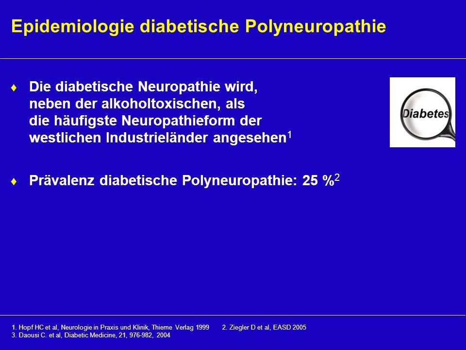 Epidemiologie diabetische Polyneuropathie Die diabetische Neuropathie wird, neben der alkoholtoxischen, als die häufigste Neuropathieform der westlich