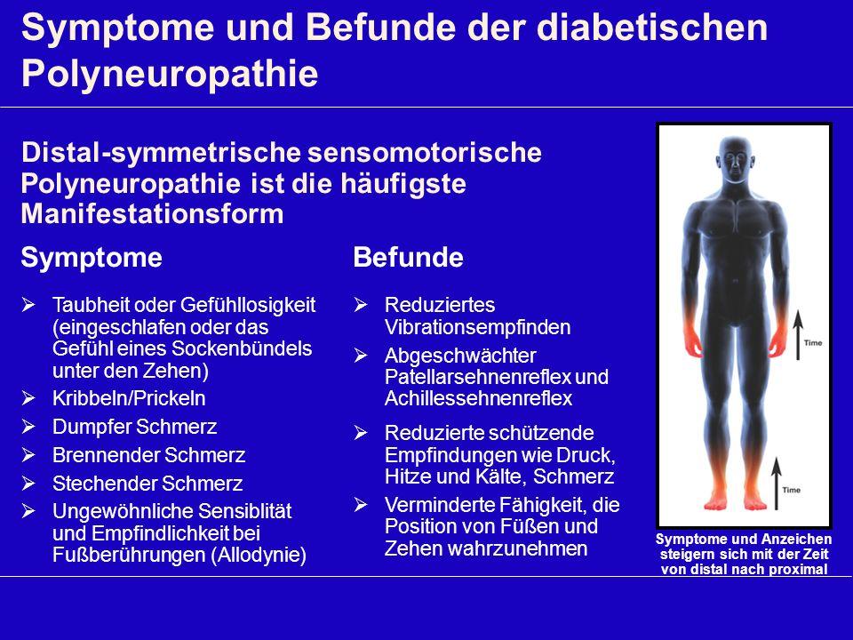 Symptome und Befunde der diabetischen Polyneuropathie Symptome Taubheit oder Gefühllosigkeit (eingeschlafen oder das Gefühl eines Sockenbündels unter