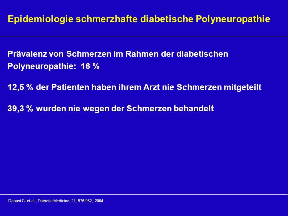 Epidemiologie schmerzhafte diabetische Polyneuropathie Prävalenz von Schmerzen im Rahmen der diabetischen Polyneuropathie: 16 % 12,5 % der Patienten h
