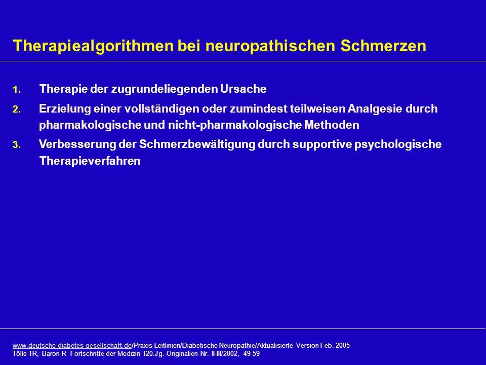 Therapiealgorithmen bei neuropathischen Schmerzen 1. Therapie der zugrundeliegenden Ursache 2. Erzielung einer vollständigen oder zumindest teilweisen