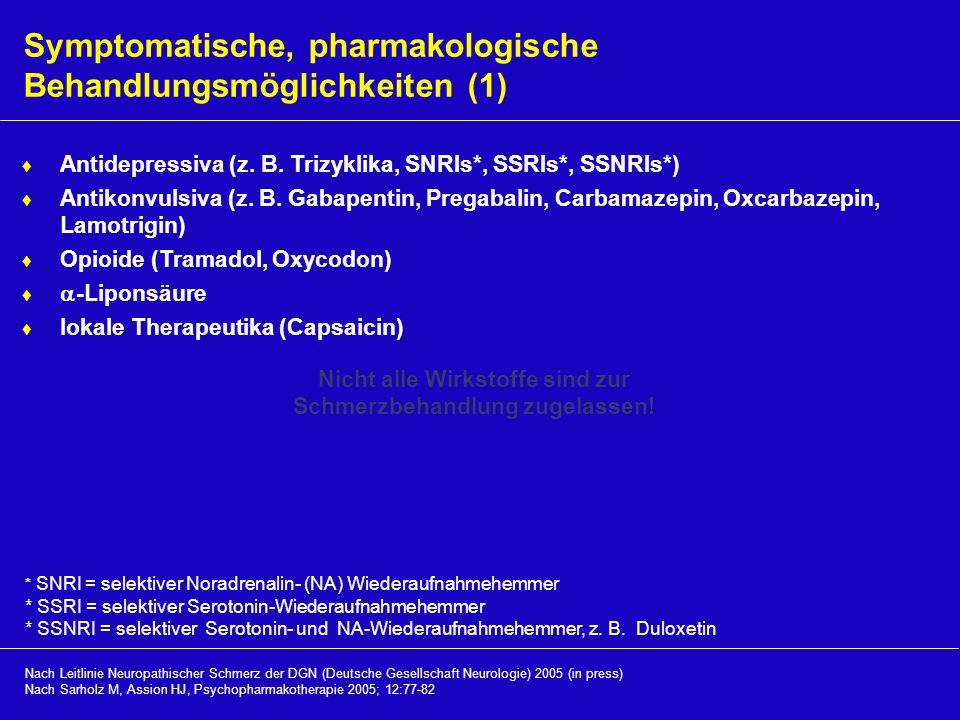 Symptomatische, pharmakologische Behandlungsmöglichkeiten (1) Antidepressiva (z. B. Trizyklika, SNRIs*, SSRIs*, SSNRIs*) Antikonvulsiva (z. B. Gabapen