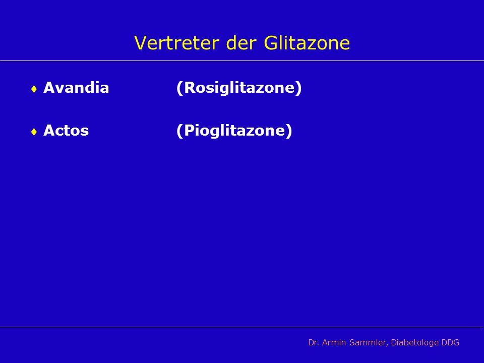 Vertreter der Glitazone Avandia(Rosiglitazone) Actos(Pioglitazone) Dr. Armin Sammler, Diabetologe DDG