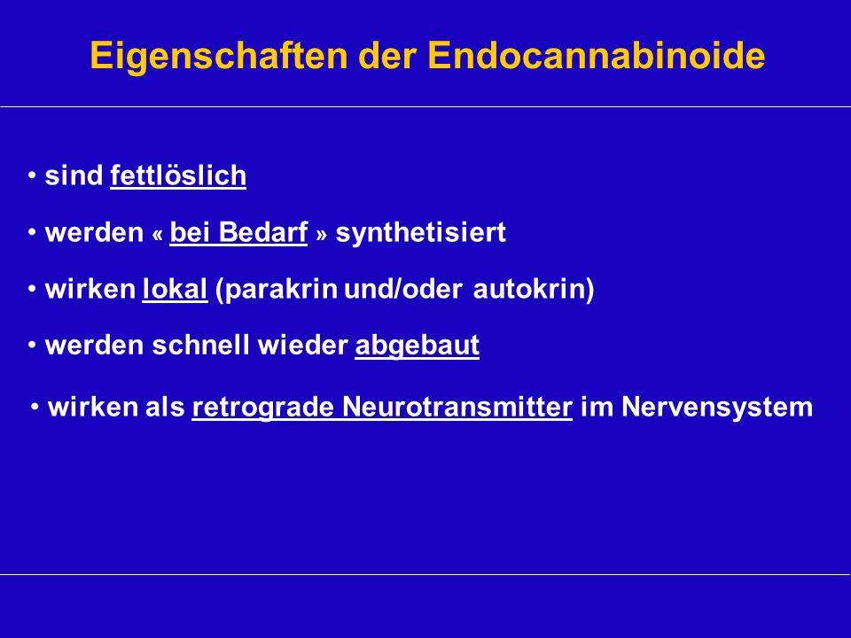 Eigenschaften der Endocannabinoide werden schnell wieder abgebaut wirken lokal (parakrin und/oder autokrin) werden « bei Bedarf » synthetisiert sind f