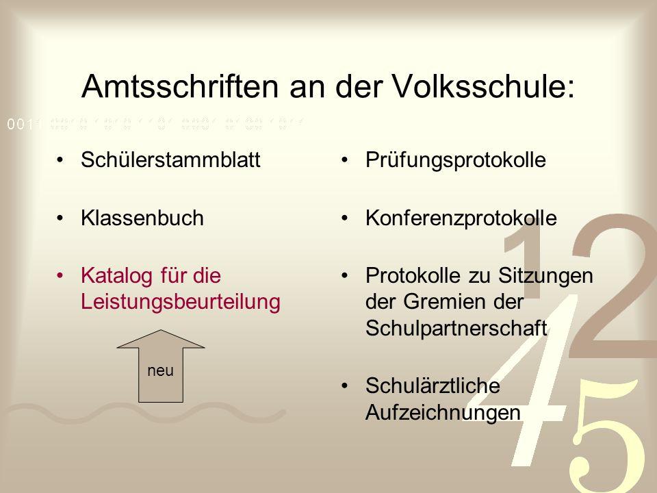 § 7 Katalog für die Leistungsbeurteilung (Volksschule) 1.
