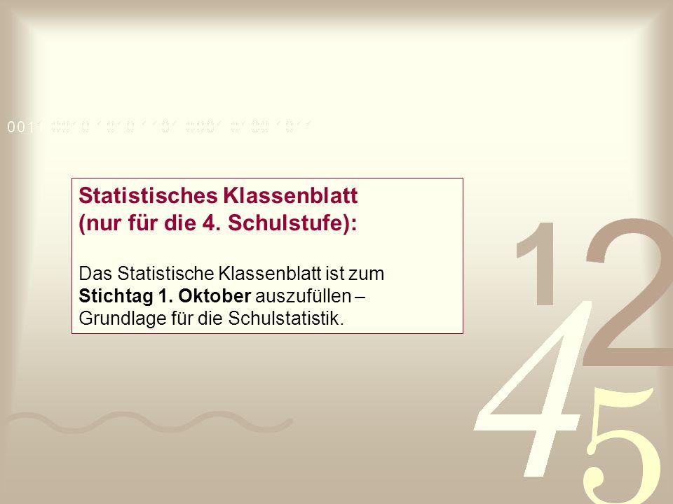 Statistisches Klassenblatt (nur für die 4. Schulstufe): Das Statistische Klassenblatt ist zum Stichtag 1. Oktober auszufüllen – Grundlage für die Schu
