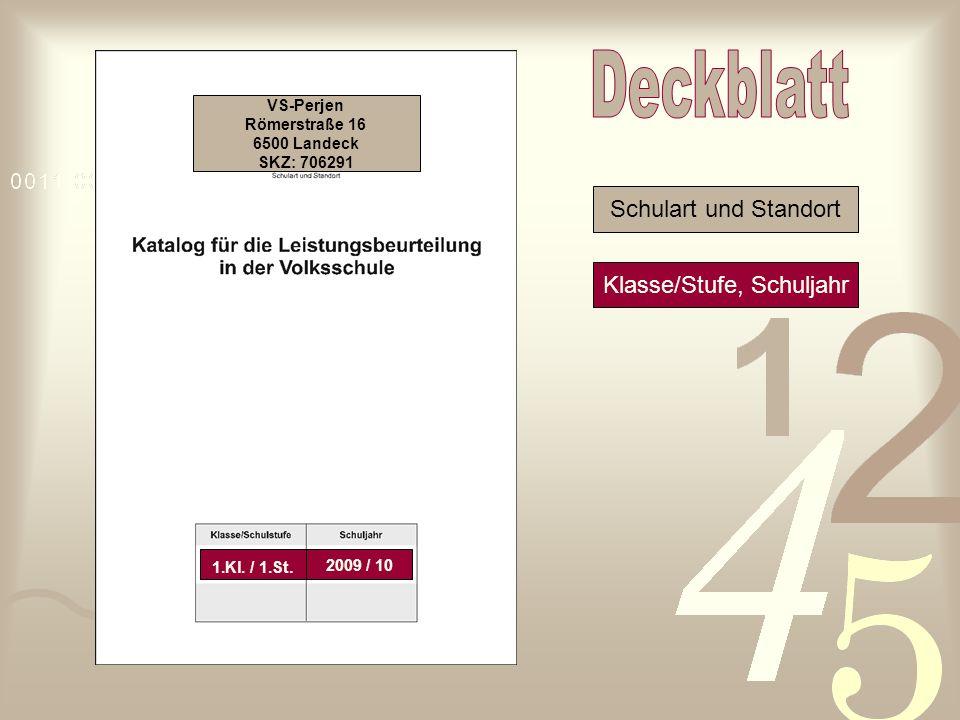 VS-Perjen Römerstraße 16 6500 Landeck SKZ: 706291 Schulart und Standort Klasse/Stufe, Schuljahr 1.Kl. / 1.St. 2009 / 10