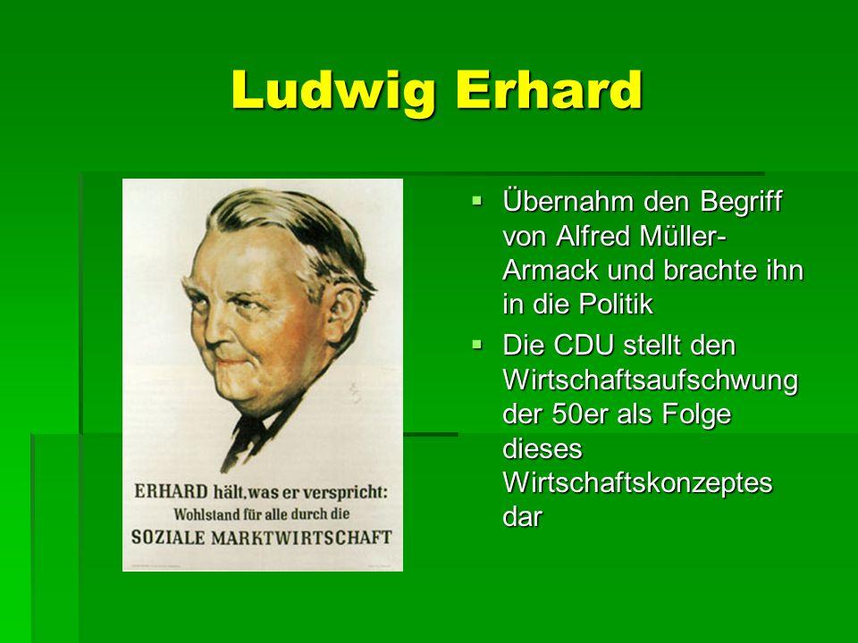 Ludwig Erhard Übernahm den Begriff von Alfred Müller- Armack und brachte ihn in die Politik Übernahm den Begriff von Alfred Müller- Armack und brachte