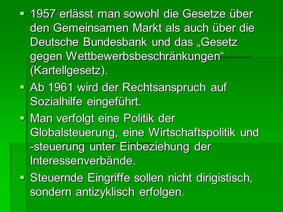 1957 erlässt man sowohl die Gesetze über den Gemeinsamen Markt als auch über die Deutsche Bundesbank und das Gesetz gegen Wettbewerbsbeschränkungen (K