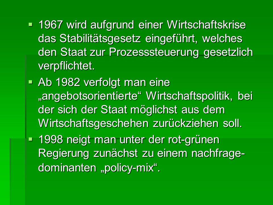 1967 wird aufgrund einer Wirtschaftskrise das Stabilitätsgesetz eingeführt, welches den Staat zur Prozesssteuerung gesetzlich verpflichtet. 1967 wird