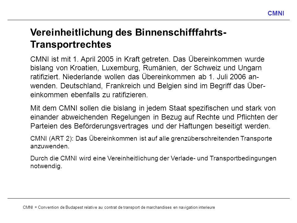 CMNI Vereinheitlichung des Binnenschifffahrts- Transportrechtes CMNI ist mit 1. April 2005 in Kraft getreten. Das Übereinkommen wurde bislang von Kroa