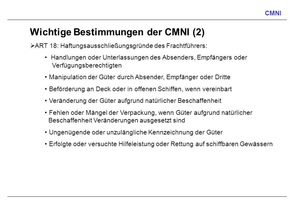 CMNI Wichtige Bestimmungen der CMNI (2) ART 18: Haftungsausschließungsgründe des Frachtführers: Handlungen oder Unterlassungen des Absenders, Empfänge