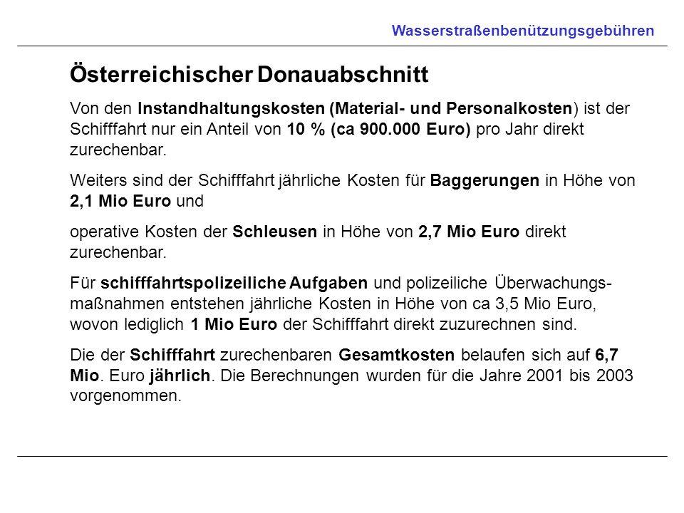 Wasserstraßenbenützungsgebühren Österreichischer Donauabschnitt Von den Instandhaltungskosten (Material- und Personalkosten) ist der Schifffahrt nur e