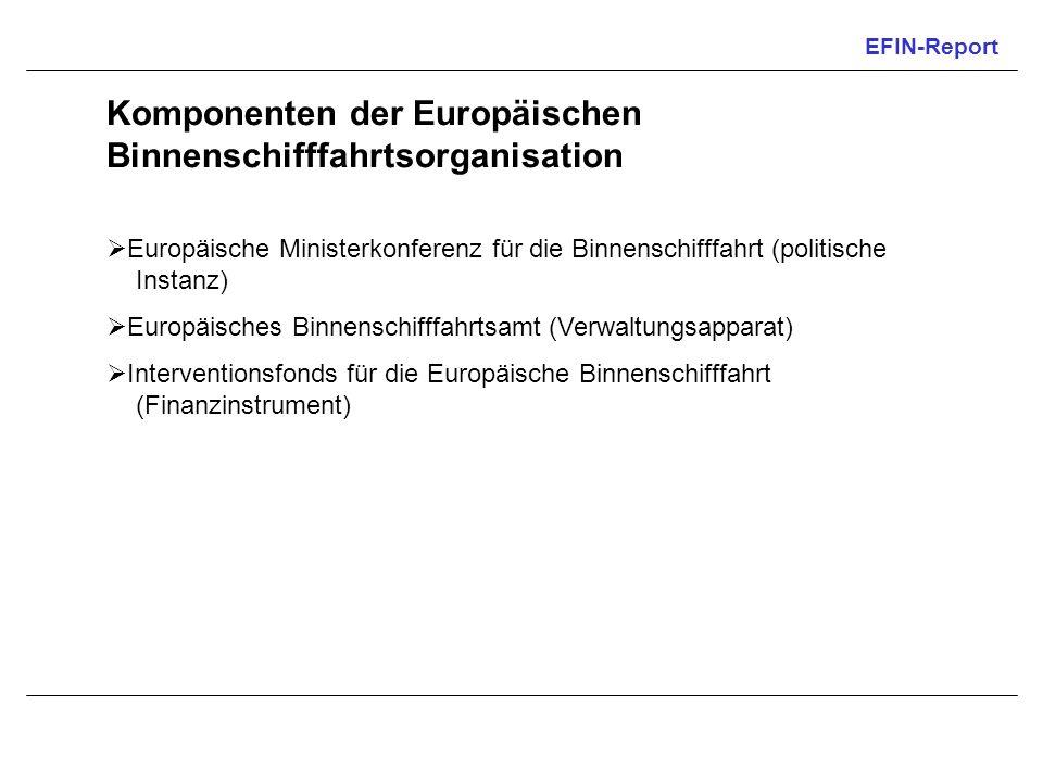 EFIN-Report Komponenten der Europäischen Binnenschifffahrtsorganisation Europäische Ministerkonferenz für die Binnenschifffahrt (politische Instanz) E