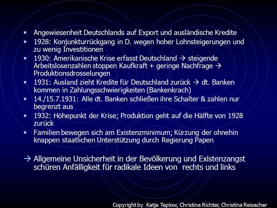Angewiesenheit Deutschlands auf Export und ausländische Kredite 1928: Konjunkturrückgang in D. wegen hoher Lohnsteigerungen und zu wenig Investitionen