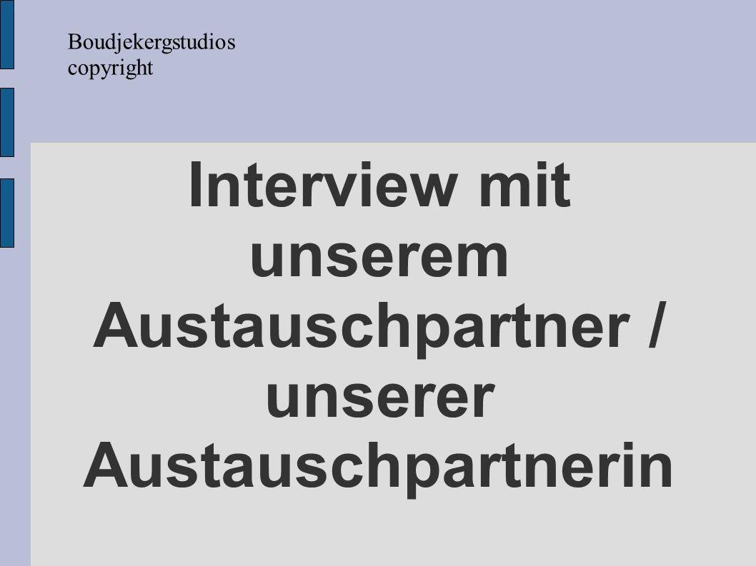 Interview mit unserem Austauschpartner / unserer Austauschpartnerin Boudjekergstudios copyright