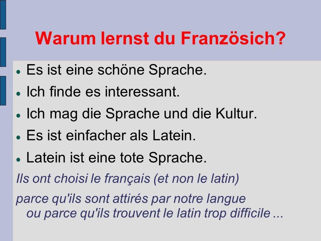 Warum lernst du Französich. Es ist eine schöne Sprache.